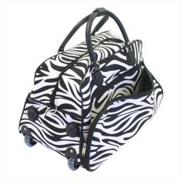 All-Seasons 8136122021T 21 in. Vacation Deluxe Carry-On Rolling Duffel Bag, Zebra