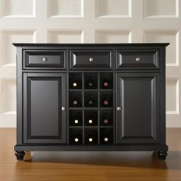 Crosley Cambridge Buffet Server / Sideboard Cabinet with Wine Storage in Black Finish