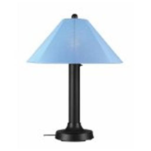 Patio Living Concepts 39640 Catalina Table Lamp 39640 with 3 in. black body and sky blue Sunbrella shade fabric - Black