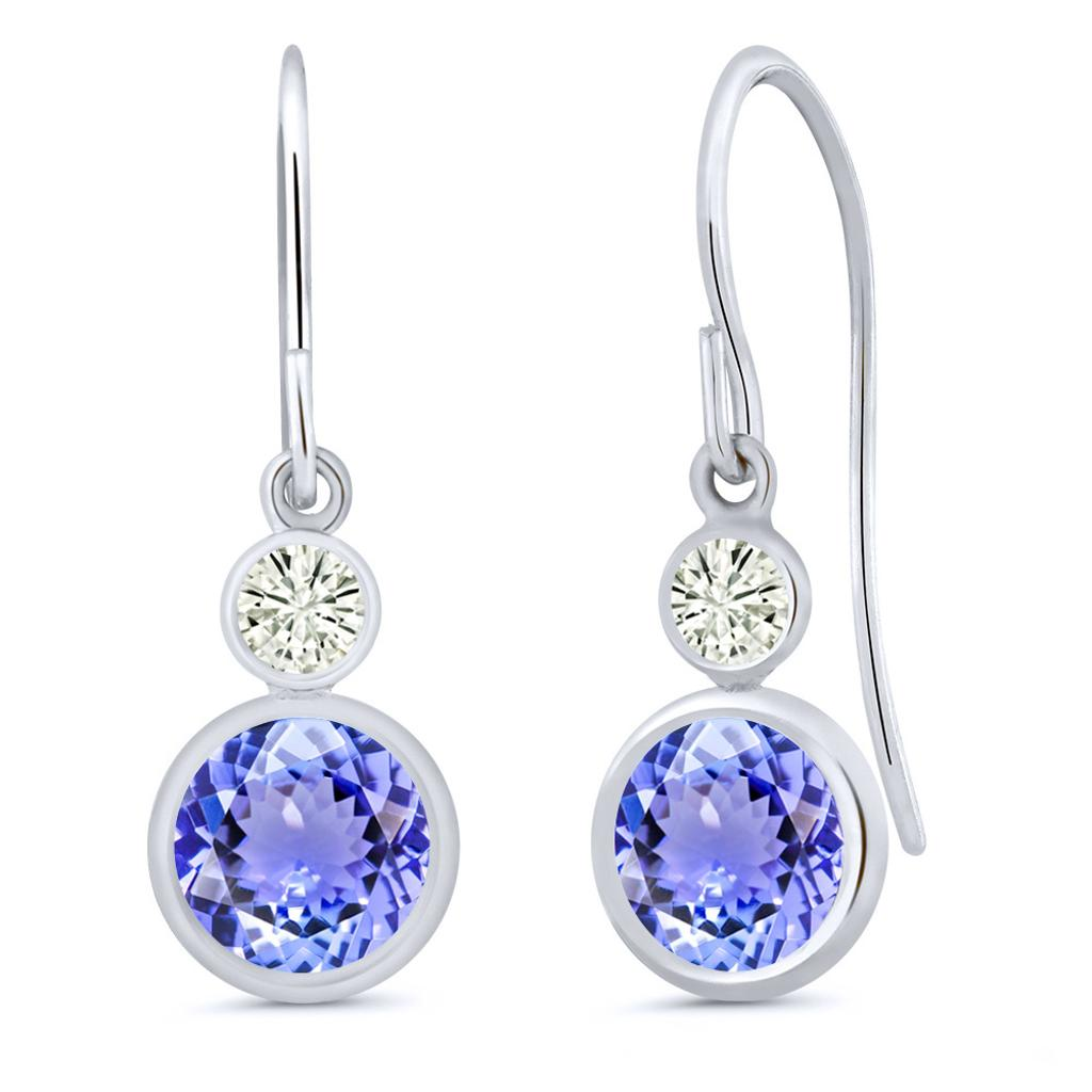 14K White Gold Dangle Earrings Round Blue Tanzanite and Forever Classic Created Moissanite 0.20ct (DEW) by Charles & Colvard