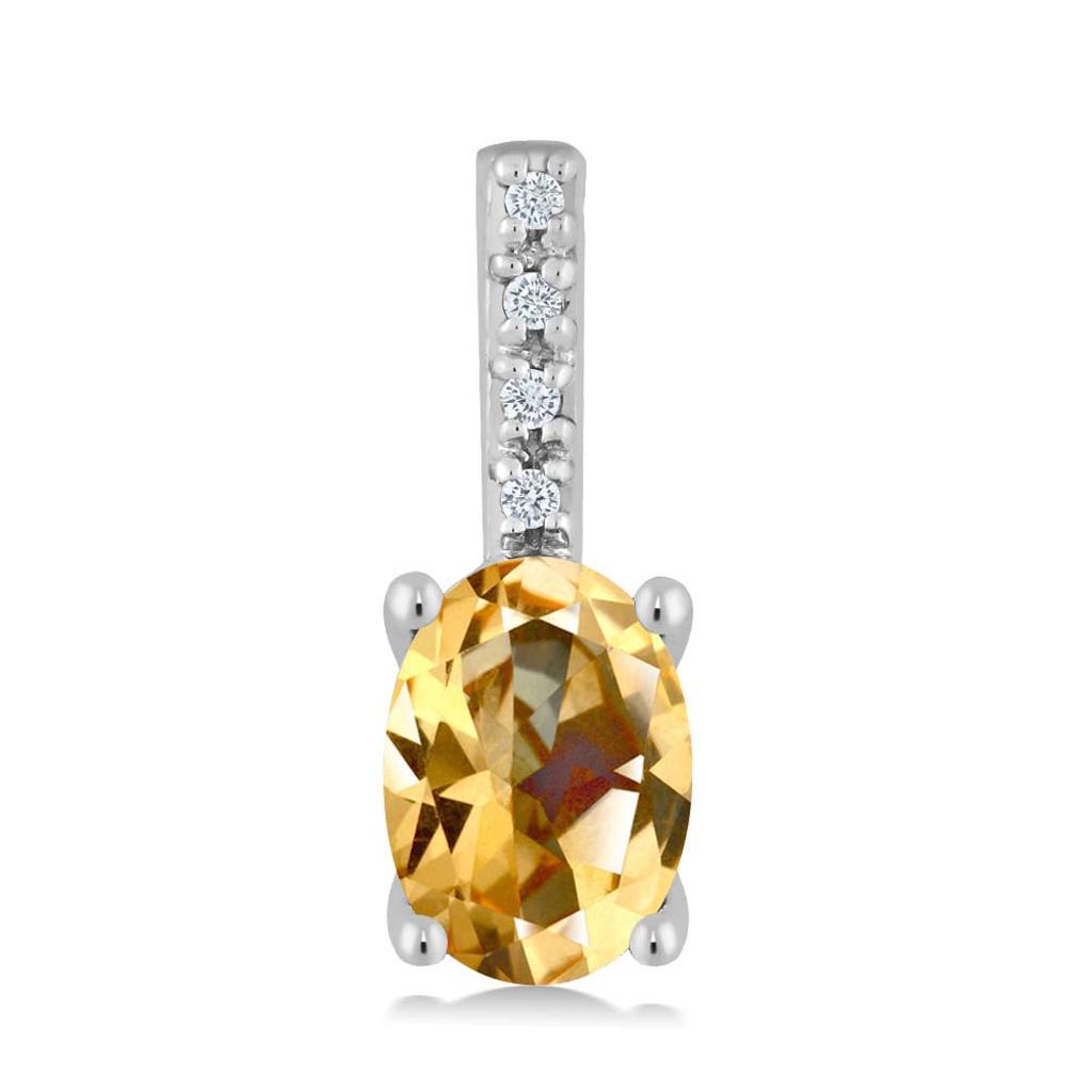 14K White Gold Diamond Pendant Set with Oval Honey Topaz from Swarovski