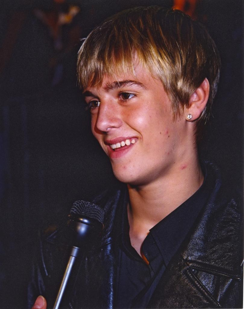 Aaron Carter Aaron Carter Undergoing an Interview in Black Jacket Photo Print