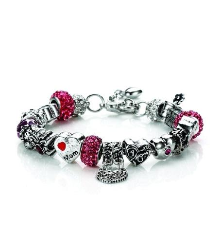 Novadab Mother Love Charm Chain Bracelet, Silver Maroon Toned Beads Bracelet for Mothers Day Love Gifts