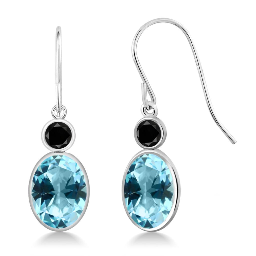 14K White Gold Diamond Earrings Set with Oval Ice Blue Topaz from Swarovski