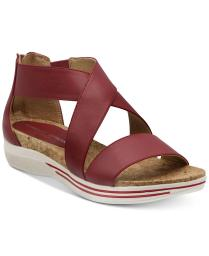 Adrienne Vittadini Womens Cary Leather Open Toe Casual Slide Sandals