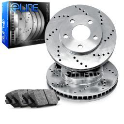 Front eLine Cross-Drilled Brake Disc Rotors & Ceramic Brake Pads GS300,IS250