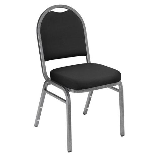 National Public Seating 9260-SV Black Fabric with Silver Frame Padded Stack Chair