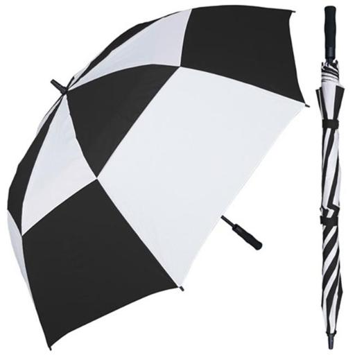 RainStoppers W026BLW 68 in. Auto Open Huge Black & White Wind Buster Golf Umbrella with Foam Handle, 3 Piece