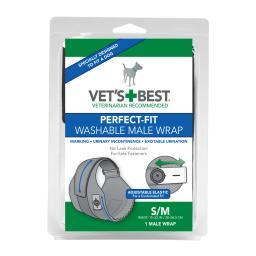 Vet'S Best 3165810420 Black Vet'S Best Perfect-Fit Washable Male Wrap 1 Pack Small / Medium Black 5.44 X 1.75 X 7.75
