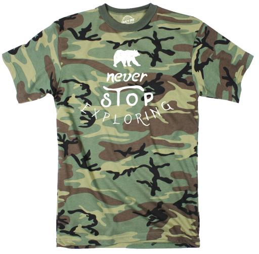 Never Stop Exploring Youth Camo Tshirt Cute Outdoors Camping Tee
