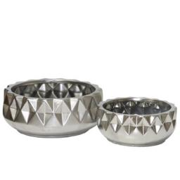 Urban Trends Collection 45938 Ceramic Round Pot with Embossed Diamond Design Body & Tapered Bottom, Silver - Set of 2