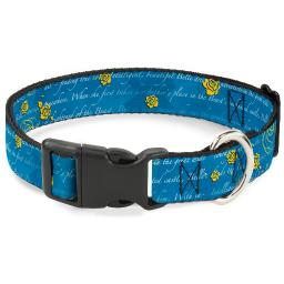 """Plastic Clip Collar - Beauty & the Beast Story Script - Large 15-26"""" 1.0"""" Large"""