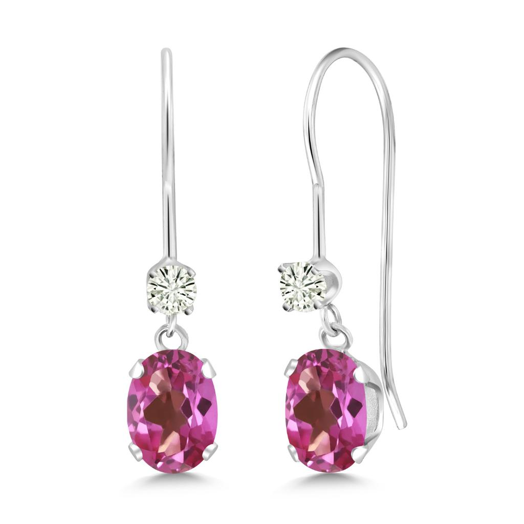 14K White Gold Dangle Earrings Oval Pink Mystic Topaz and Forever Classic Created Moissanite 0.12ct (DEW) by Charles & Colvard