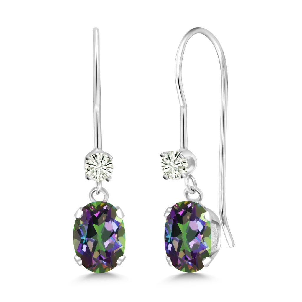 14K White Gold Dangle Earrings Oval Green Mystic Topaz and Forever Classic Created Moissanite 0.12ct (DEW) by Charles & Colvard