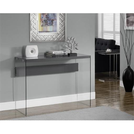Monarch Specialties I 3294 Glossy Grey Hollow-Core Tempered Glass Sofa Table