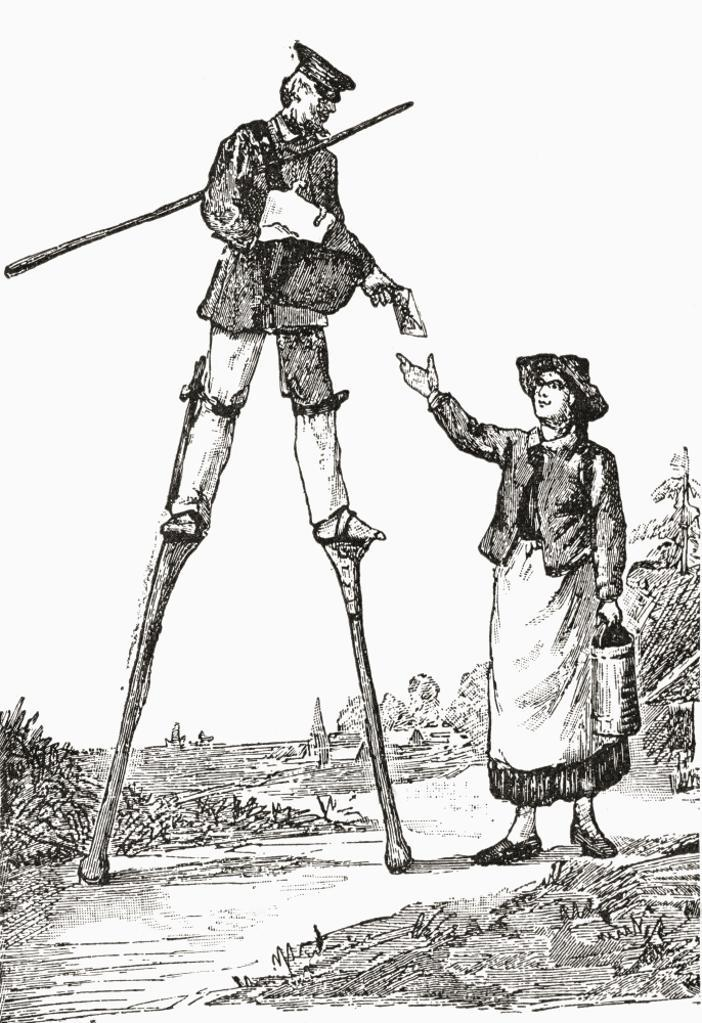 A postman in Landes, Bordeaux, France delivering letters whilst walking on stilts. This form of walking was adopted by many people in Bordeaux due to non existent roads and marshy, uneven terrain. From The Strand Magazine published 1897. PosterPrint