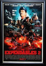 Expendables 2 - Signed Movie Poster in Wood Frame with COA