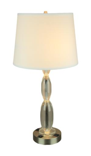 Clear Stacked Ovals Contemporary Table Lamp With Power Outlets