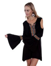 Scully Western Shirt Womens L/S Aztec Embroidery Scoop Neck HC382 HC382