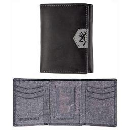 BROWNING BGT1179 BROWNING LEATHER WALLET TRI-FOLD BUCKMARK LOGO BLACK
