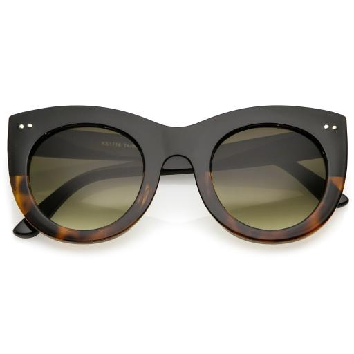 ab37932b116 Women s Bold Chunky Cat Eye Sunglasses With Neutral Color Round Lens 49mm.  by sunglassLA
