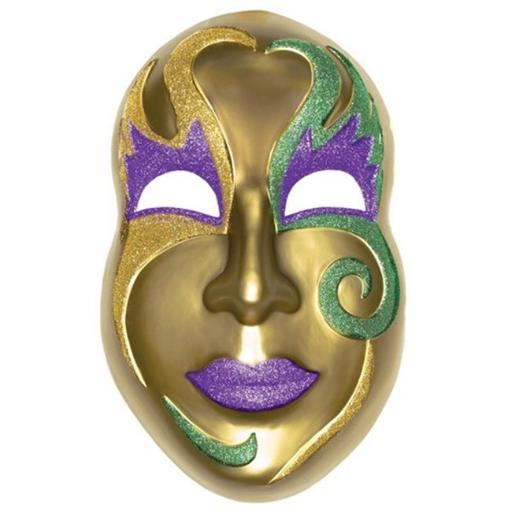 Amscan 195431 Gold Mask 21 in. x 13.5 in. Mardi Gras Plastic 3D Decoration - Pack of 2