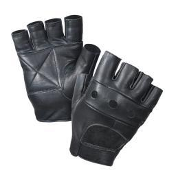 Black Leather Fingerless Biker Gloves 3498