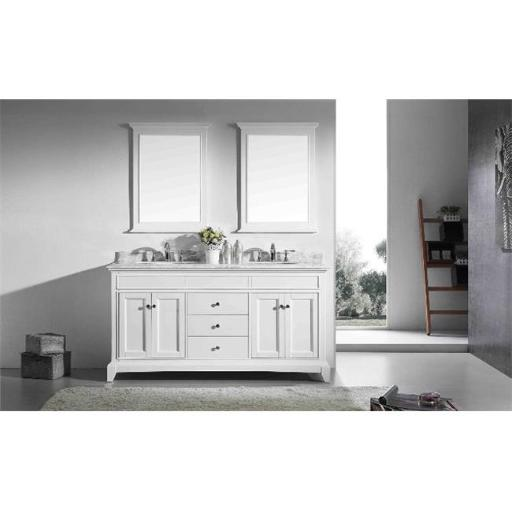 Eviva Elite Stamford 72 Inch White Solid Wood Bathroom Vanity Set with Double OG White Carrera Marble Top & White Undermount Porcelain Sinks