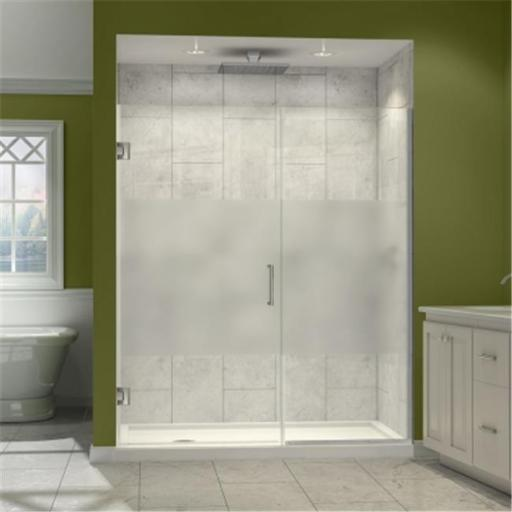 DreamLine SHDR-243707210-HFR-04 DreamLine Unidoor Plus 37 to 37-1/2 in. W x 72 in. H Hinged Shower Door, Half Frosted Glass Door, Brushed Nickel Finis