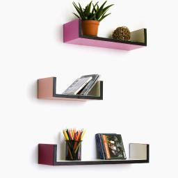 Fashion & Easy U-Shaped Leather Wall Shelf / Floating Shelf (Set of 3)