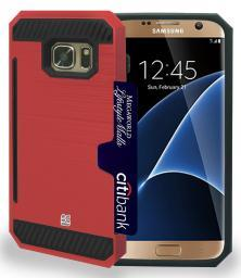 RED RUGGED TPU HARD CASE WITH CREDIT CARD SLOT STAND FOR SAMSUNG GALAXY S7 EDGE