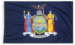 New York State Flag 3' x 5' Blue USA Polyester 2 Brass Grommets NY