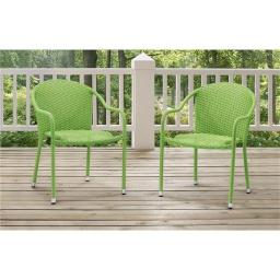 Modern Marketing Concepts CO7137-GR Palm Harbor Outdoor Wicker Stackable Chairs, Green - Set of 2