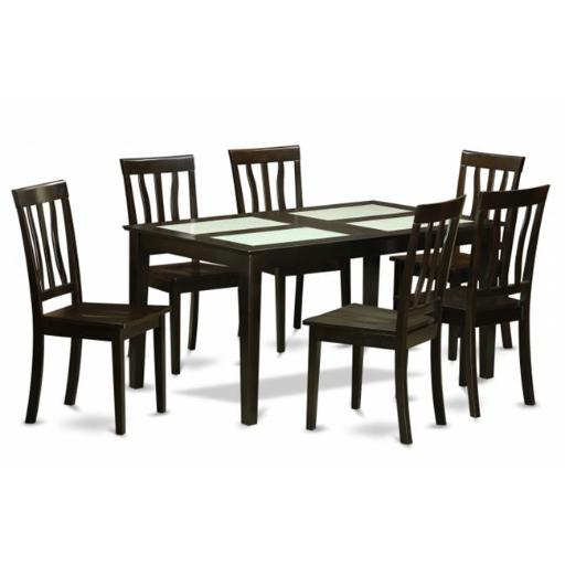 East West Furniture CAAN7G-CAP-W 7 Piece Formal Dining Room Set- Dinette Glass Top Table and 6 Dining Room Chairs