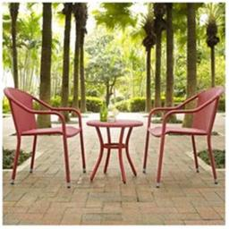 Modern Marketing Concepts KO70060RE Palm Harbor Outdoor Wicker Cafe Seating Set, Red - 3 Piece