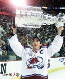 Joe Sakic with the 2001 Stanley Cup 2001 NHL Stanley Cup Finals Photo Print PFSAACF01401
