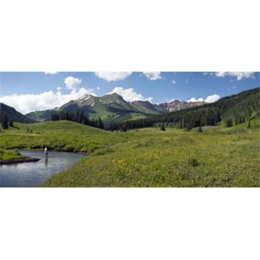 Panoramic Images PPI137622L Man fly-fishing in Slate River Crested Butte Gunnison County Colorado USA Poster Print by Panoramic Images - 36 x 12