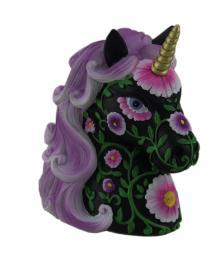 Gorgeous Black and Bright Purple Floral Design Unicorn Coin Bank