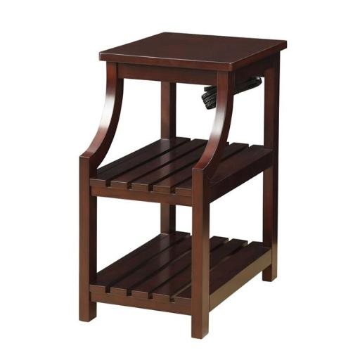 Urban Designs 4755918 Havana Wooden Accent Side Table with Charging Station, Espresso - 24 x 20 x 13 in.