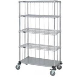 Quantum Storage M1836CG46RE-5 Rods & Tabs Enclosure Cart with 4 Chrome Wire Shelves - 63 in.