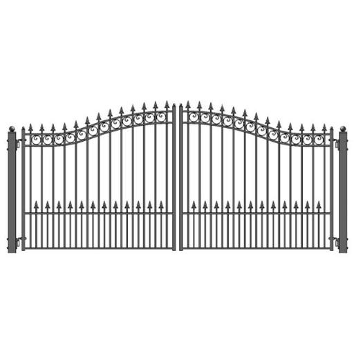 Aleko DG14PRAD-UNB 14 ft. Prague Style Iron Wrought Dual Swing Driveway Gate