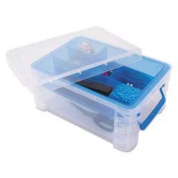 advantus-37371-10-3-x-14-25-x-6-5-in-super-stacker-divided-storage-box-clear-with-blue-tray-handles-kkdfueam6cnh65pc