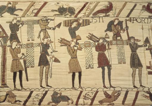 Bayeux Tapestry. 1066-1077. Ttransport Of Weapon And Armours. Detail. Romanesque Art. Tapestry. France. Bayeux. Archaeological Museum.