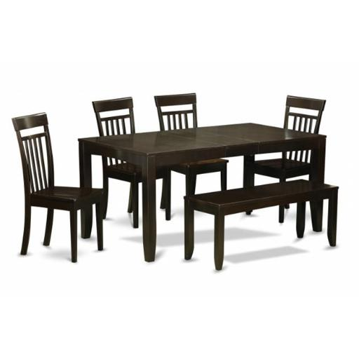 East West Furniture LYCA6-CAP-W 6 Piece Dining Room Table With Bench-Dining Room Table With Leaf and 4 Dining Chairs Plus Bench