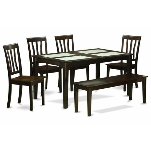 East West Furniture CAAN6G-CAP-W 6 Piece Dining Set With Bench-Glass Top Table and 4 Dining Chairs and 1 Wood Bench