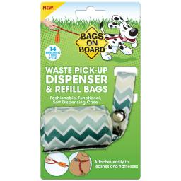 Bags On Board 3203940028 Green Bags On Board Fashion Dispenser And Poop Bag Refills Chevron Print 14 Bags Green