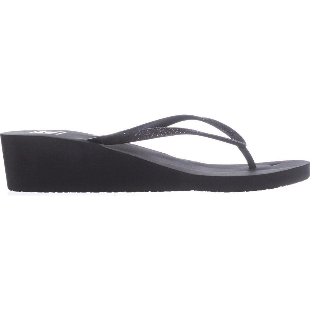 b4101909b1 REEF Reef Krystal Star Wedge Flip Flops, Black/Black | massgenie.com