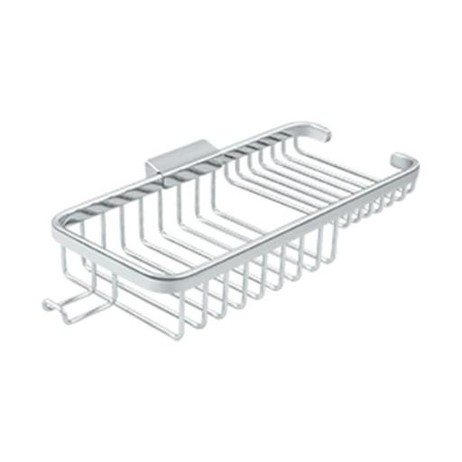 10 in. Rectangular Deep & Shallow Corner Brass Wire Basket with Hook, Polished Chrome