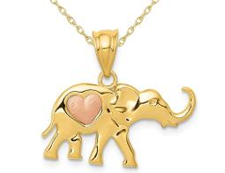 14K Yellow and Rose Pink Gold Elephant Heart Charm Pendant Necklace with Chain