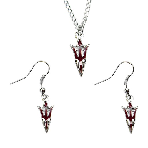 NCAA Arizona State Univercity Necklace And Dangle Earring Charm Set